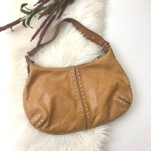 Michael Kors leather studded hobo shoulder bag